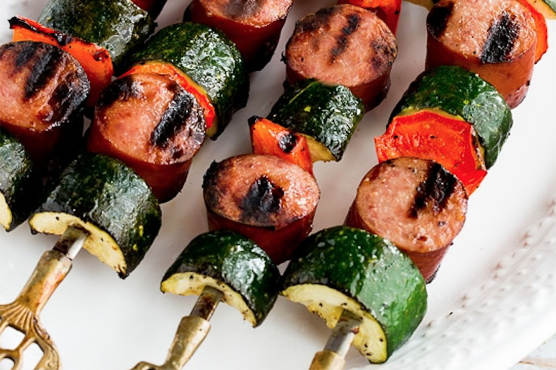 World's Easiest Kabobs with Grilled Zucchini and Sausage