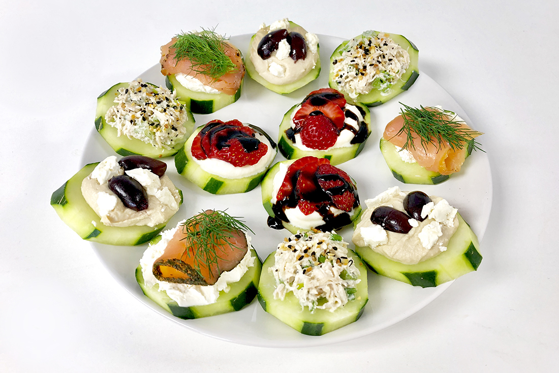 Cucumber Bites 4 Ways