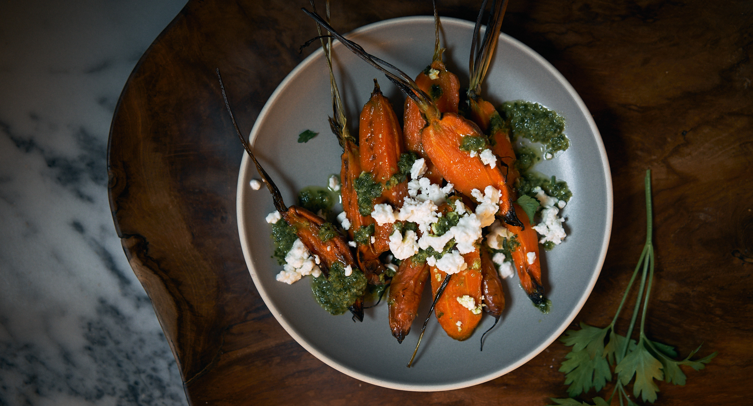 Roasted Carrots with Chimichurri & Feta