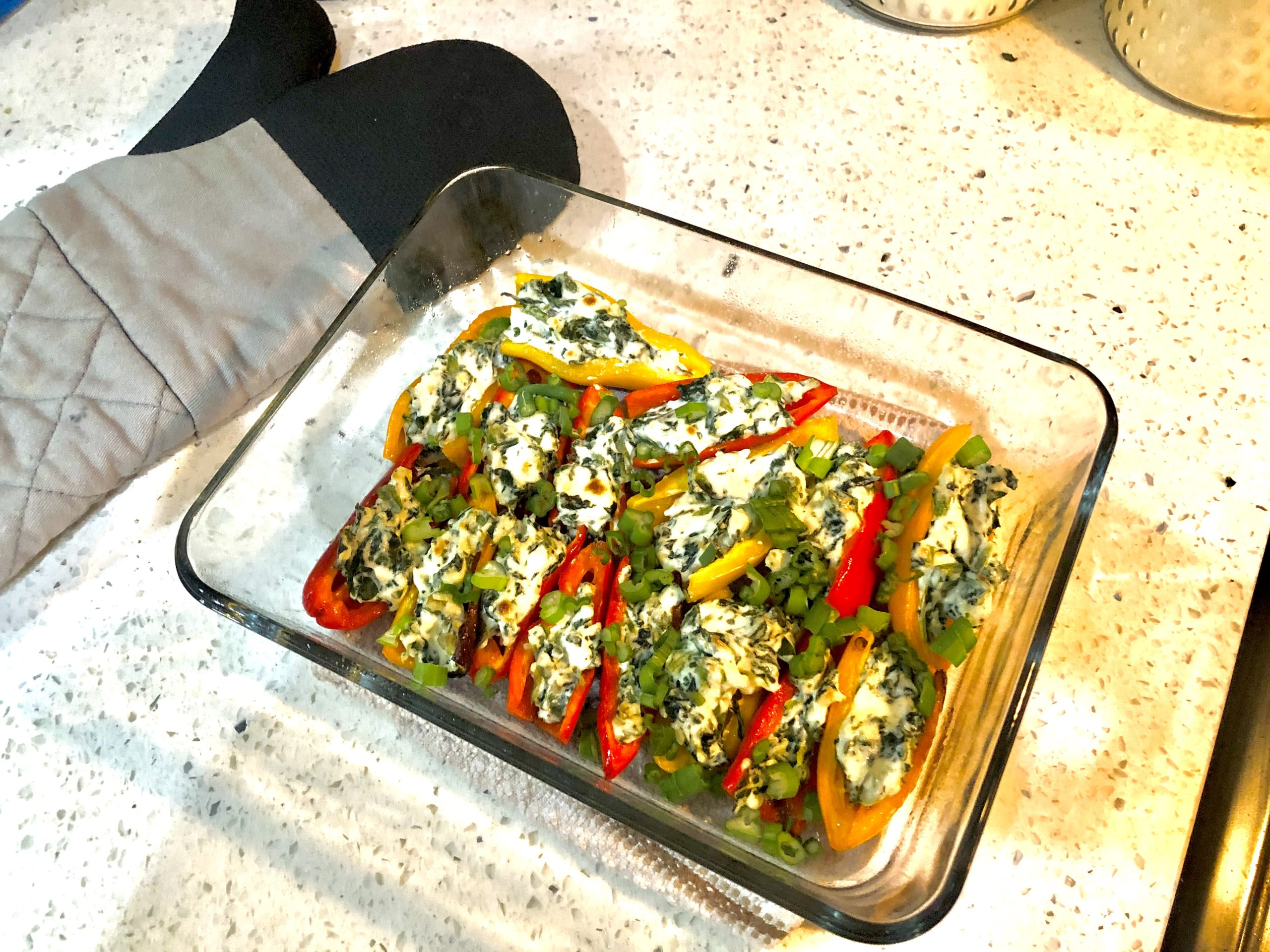 Garlic Cream Cheese & Spinach Roasted Mini Sweet Peppers
