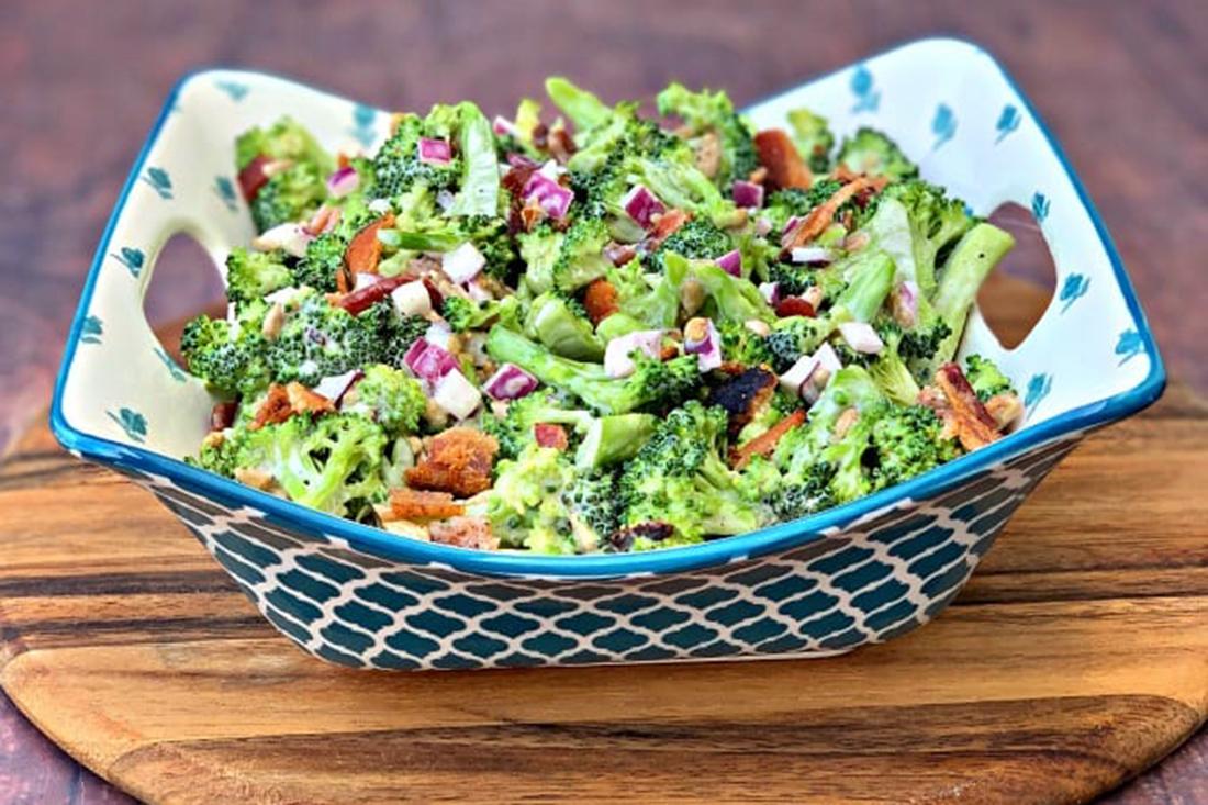Easy, Keto, Low-Carb Broccoli Salad with Bacon