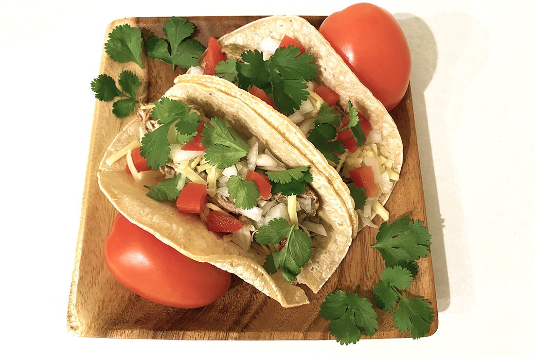 No Stress Slow Cooker Pork Tacos with Green Chili Salsa