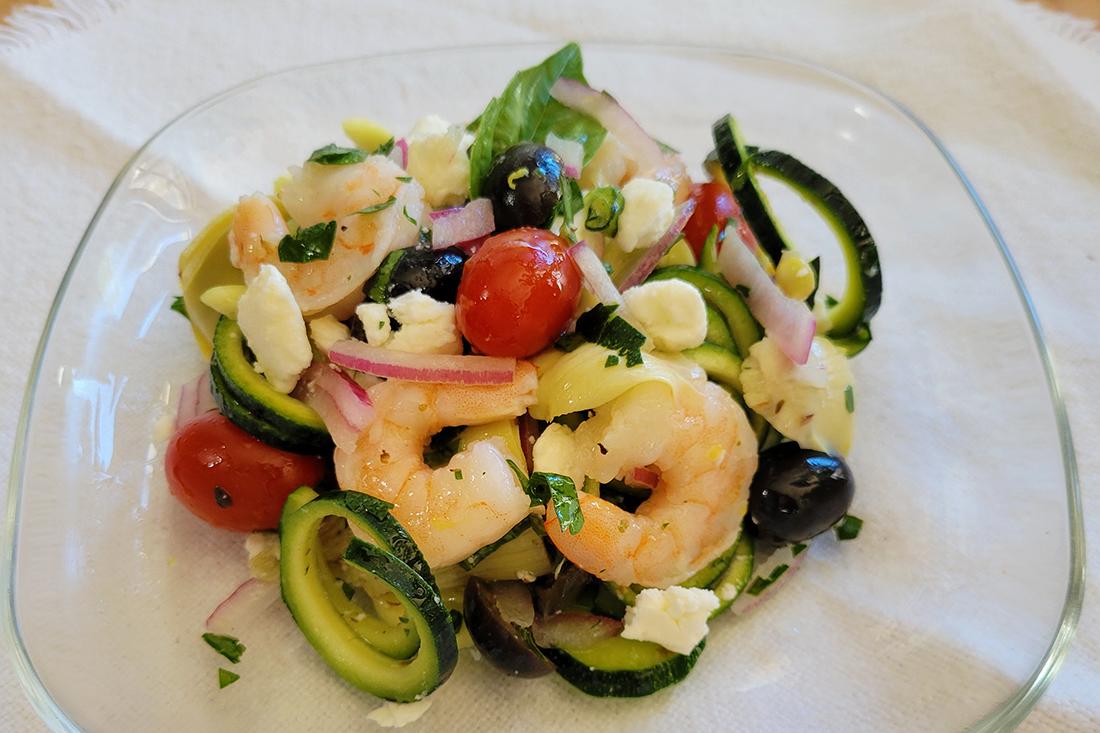 "Mediterranean Shrimp Artichoke ""Pasta"" Salad"